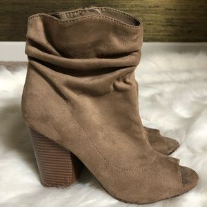 Slouchy suede booties